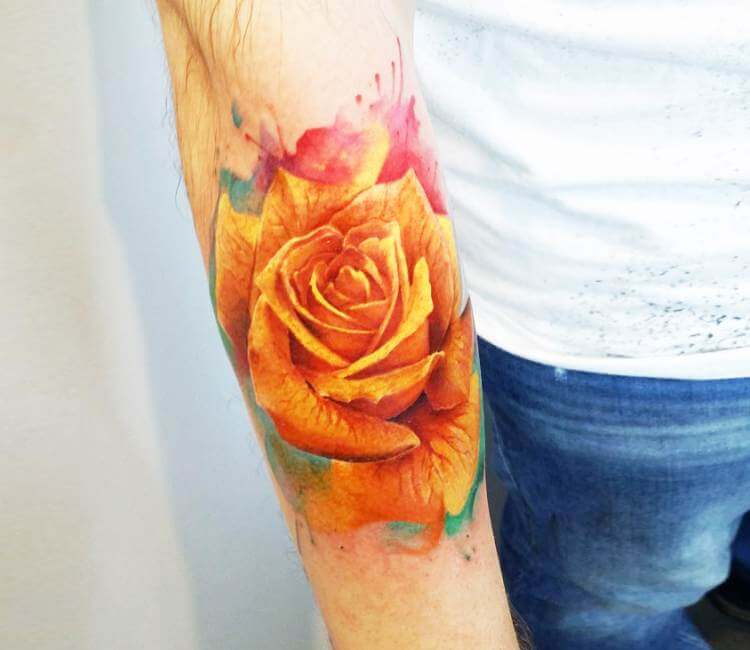 Yellow Rose Tattoo By Adrian Ciercoles