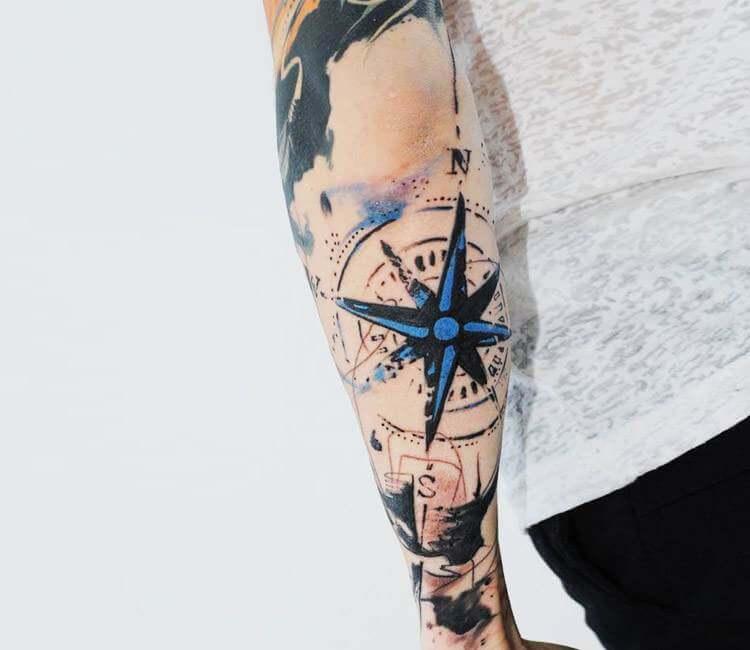 Abstract compass tattoo by Aleksandra Katsan | Post 16935