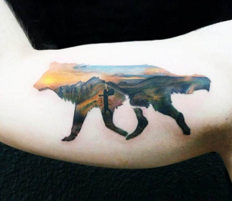 f63c7111663b3 Silhouette Wolf tattoo by Andrea Morales   Post 17648