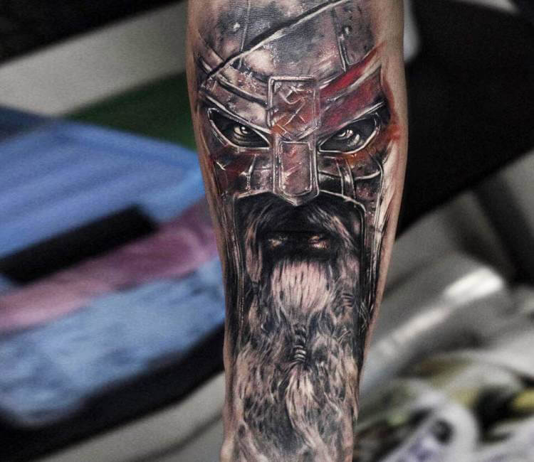 warrior face tattoo by andrey stepanov post 16269. Black Bedroom Furniture Sets. Home Design Ideas