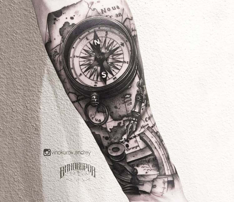 Compass tattoo by Andrey Vinokurov | Post 21199