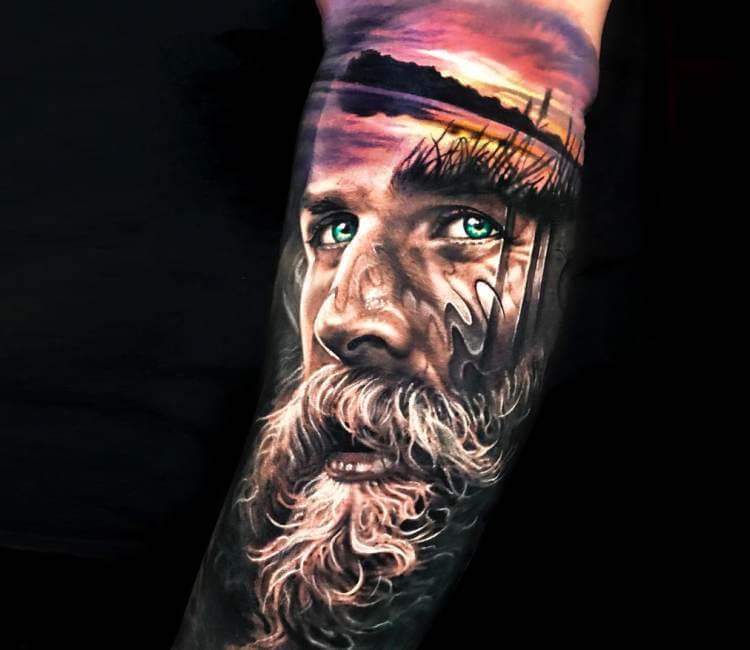 694336844 Beard man tattoo by Arlo Tattoos | Post 21208