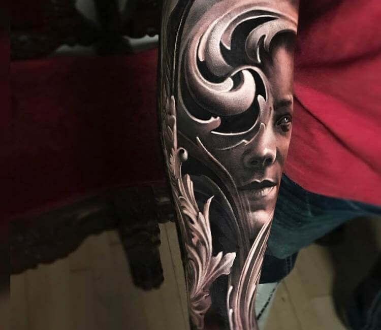 Face with baroque ornament tattoo by arlo tattoos post 19455 for Arlo tattoo artist