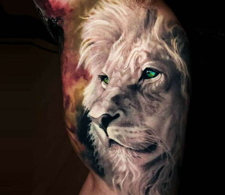 Lion head tattoo by Arlo Tattoos