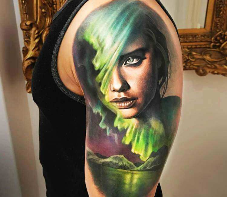 Northern Lights Face tattoo by Arlo Tattoos | Post 24808