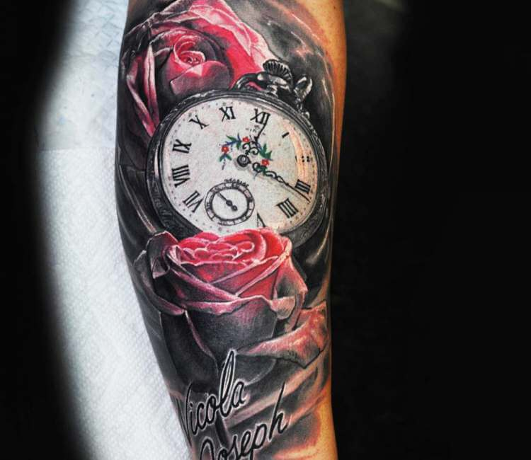 Clock And Roses Tattoo By Ben Delongchamp Post 25202