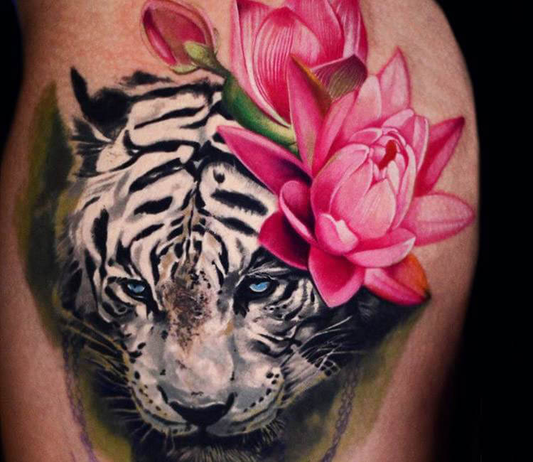 White Tiger With Flowers Tattoo By Ben Ochoa Post 16896
