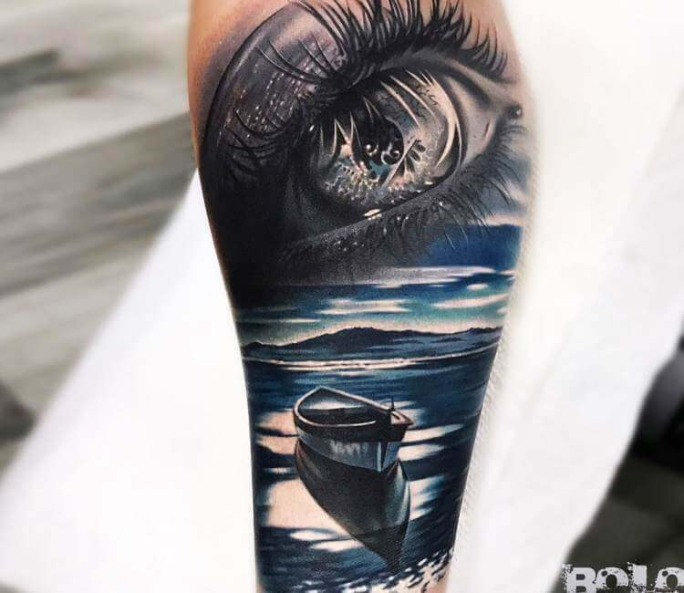 Eye And Small Boat Tattoo By Bolo Art Tattoo