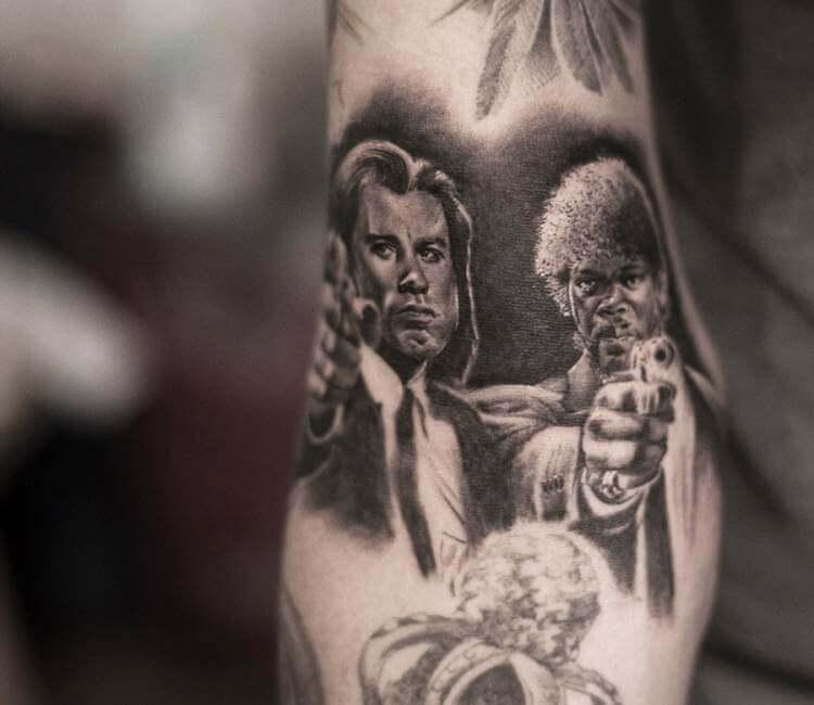 34a68c5fd9e33 black and gray pulp fiction tattoo by bro studio