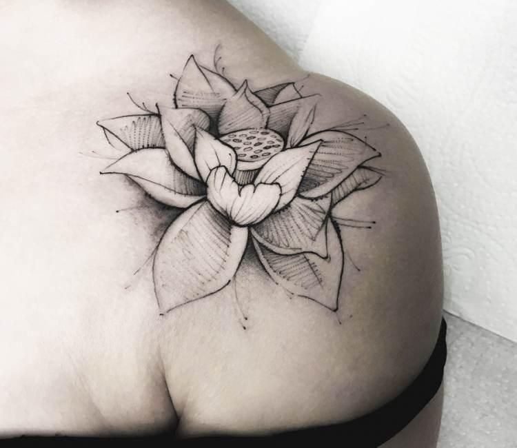 Lotus flower tattoo by dener silva post 18747 mightylinksfo