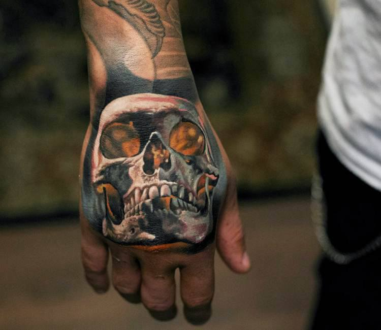 skull hand tattoo by denis sivak post 14411. Black Bedroom Furniture Sets. Home Design Ideas