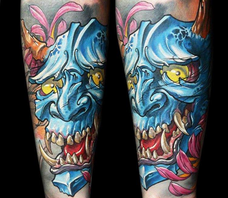 Japanese Mask tattoo by Dmitriy Samohin   Post 13768