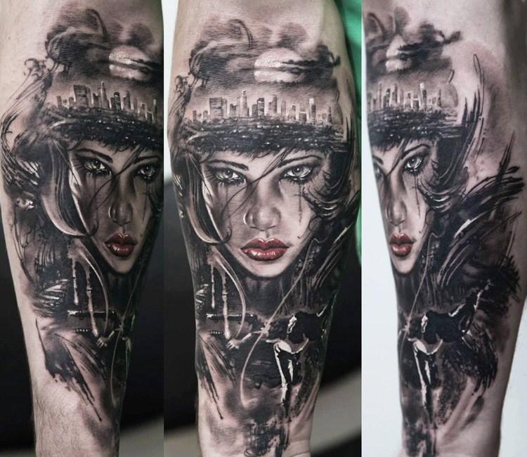 Woman Face Tattoo By Dmitriy Samohin
