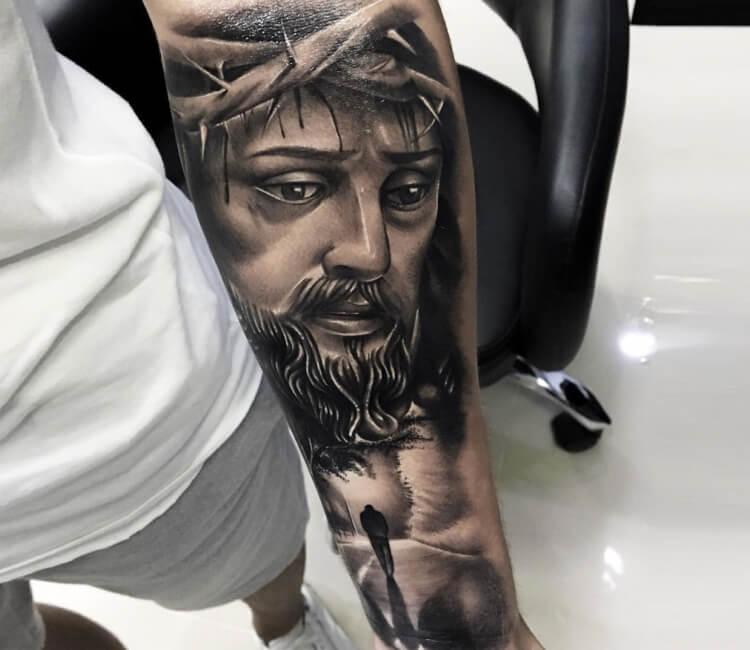 0e0abbbbf black and gray jesus tattoo by douglas prudente