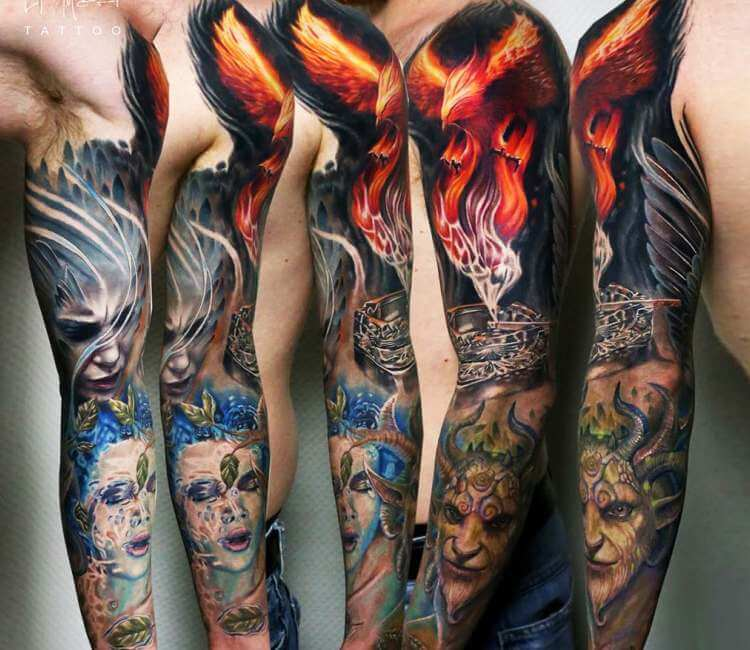 0cec9e344 Fantasy sleeve tattoo by El Mori Tattoo | Post 23040