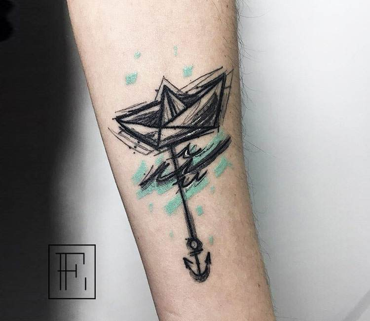 Origami Boat Tattoo By Elena Fortuna