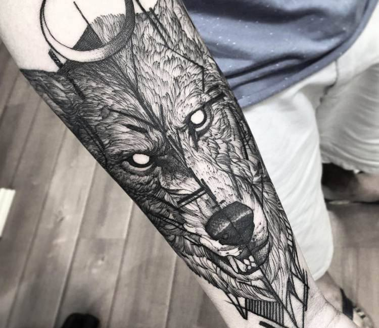 f32bba0f3 black and gray wolf tattoo by fredao oliveira