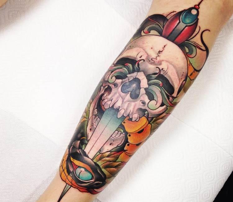 Skull with Dagger tattoo by Grecha Tattoo | Post 19195