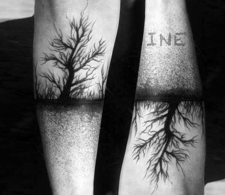 da31aff5aeb52 black tattooink tree and roots tattoo by inez janiak