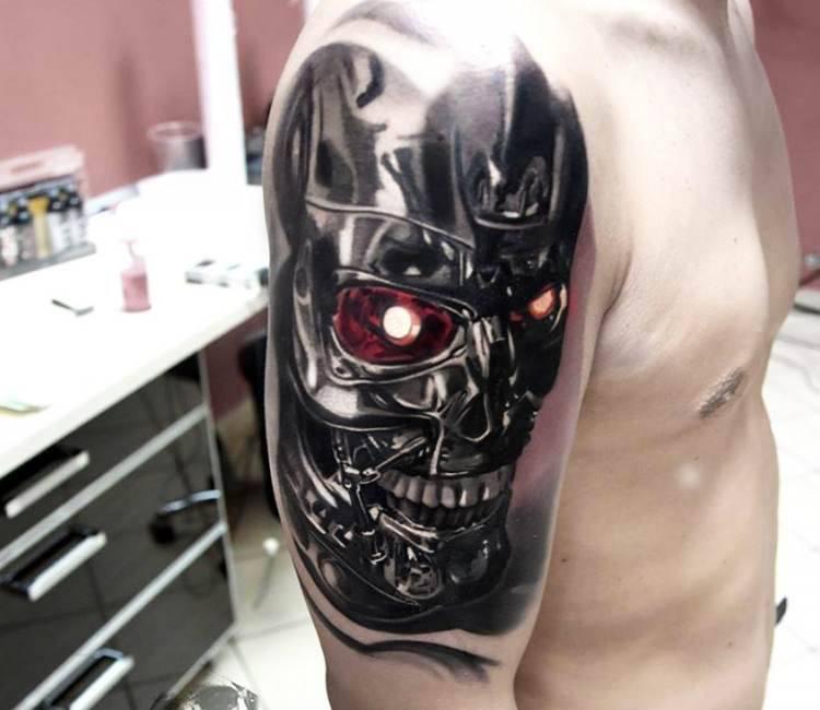 terminator head tattoo by jakub hanus post 16760. Black Bedroom Furniture Sets. Home Design Ideas