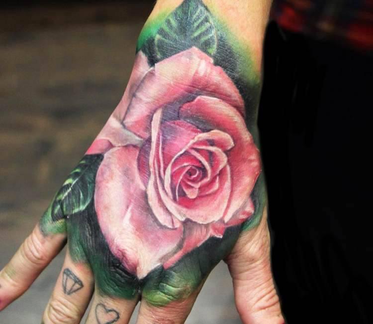 Rose Hand Tattoo By Jordan Croke Post 15131