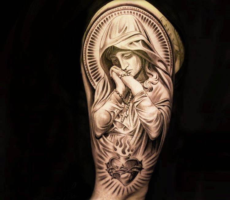 8663dbc05 black and gray virgin mary tattoo by jun cha