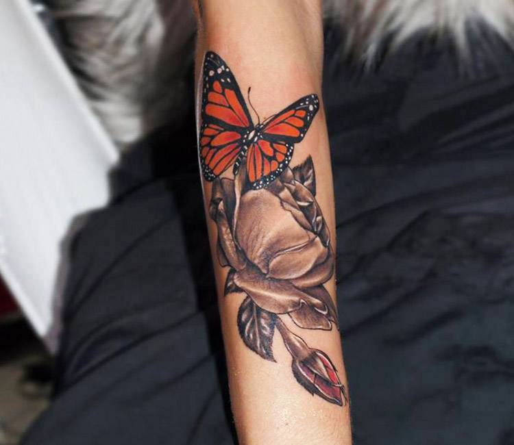 Rose and Butterfly tattoo by Jurgis Mikalauskas | Post 13348