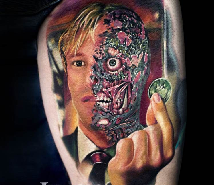 Two Face tattoo by Jurgis Mikalauskas | Post 21008