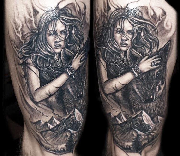 Wolf Woman Tattoo By Sergey Shanko: Wolf Woman Tattoo By Jurgis Mikalauskas