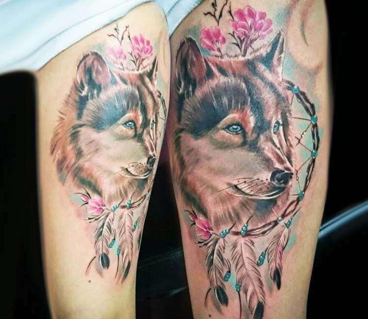 Wolf With Dreamcatcher Tattoo By Kafka Tattoo Post 25841