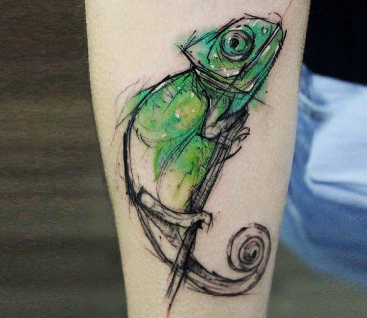ad760035b08f9 60 Colorful Chameleon Tattoo Ideas Designs That Will Make You Smile. Chameleon  Tattoo By Kamil Mokot Post 21498