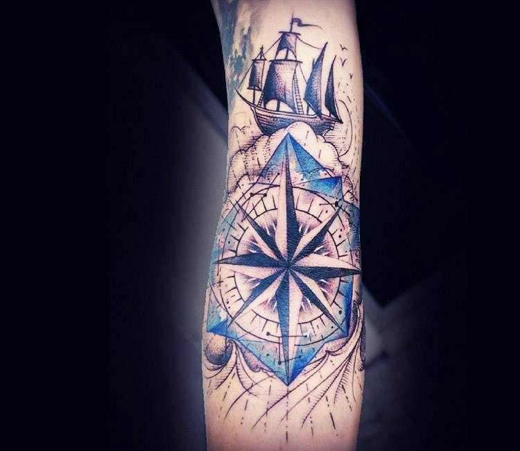 compass and ship tattoo by kati berinkey post 17229. Black Bedroom Furniture Sets. Home Design Ideas