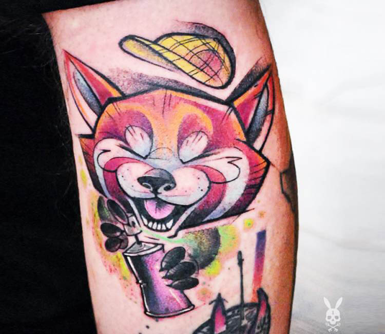 Funky tiny red panda tattoo by kati berinkey post 17228 for Funky rooster tattoo and art gallery