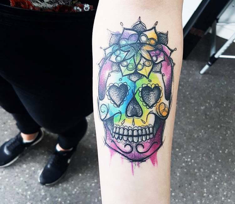 Sugar Skull Tattoo By Kerste Diston Post 23696
