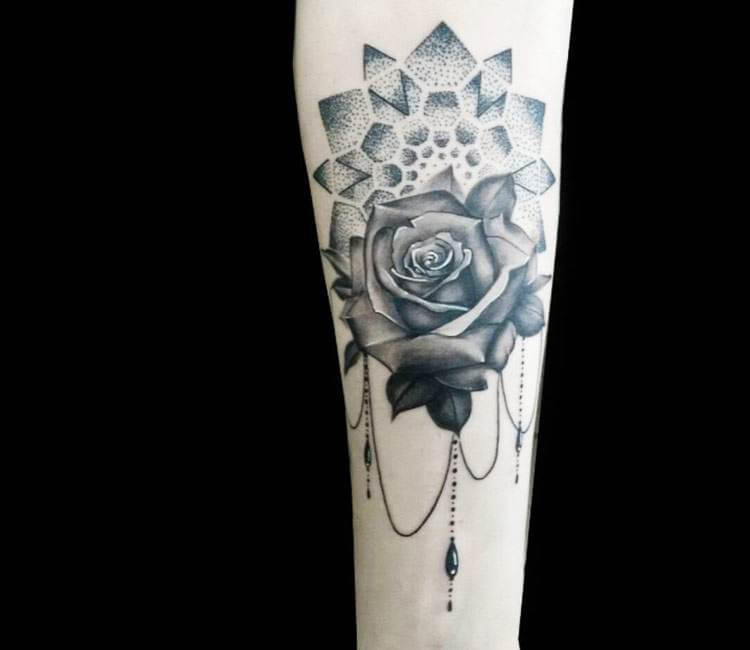 64b8c470f998e black and gray mandala and rose tattoo by klebyz soares