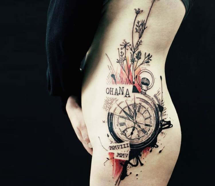 Stopwatch and plants tattoo by koit tattoo post 17869 for Stop watch tattoos