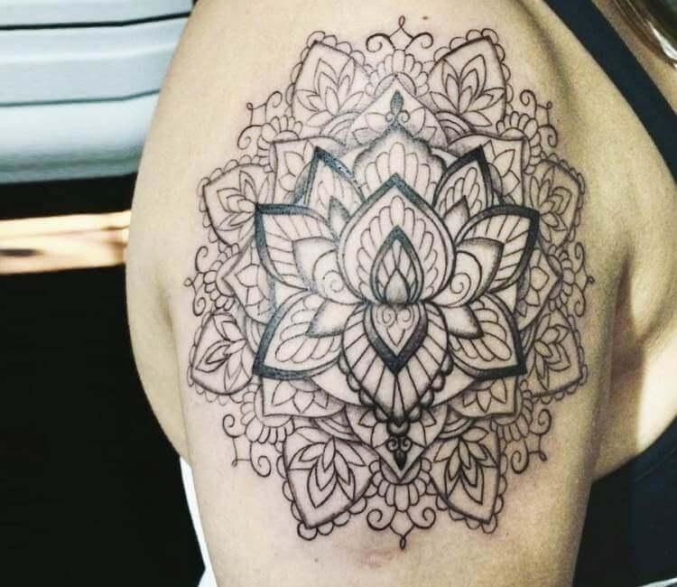 ba361e097e765 black and gray mandala tattoo by kristie yuka