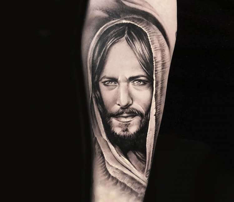 Jesus Christ Tattoo By Lena Art Post 22173 Jesus christ tattoo on forearm black and grey by vlad aleksandrovich. jesus christ tattoo by lena art post