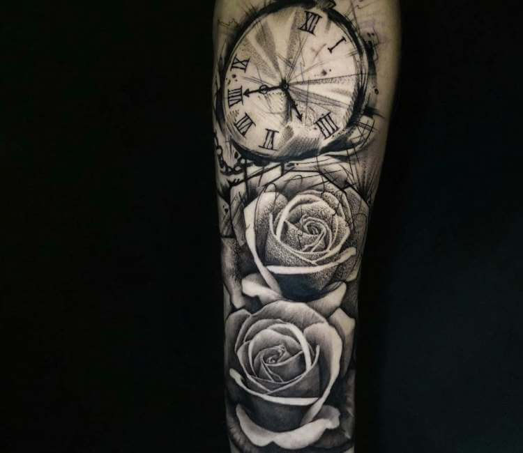 2087334713053 black and gray pocket watch and roses tattoo by lloyd nakao