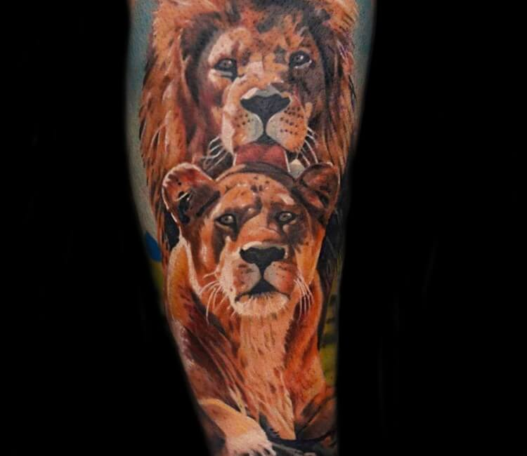 47c8e9c3483c5 Lion and lioness tattoo by Marko Tattoo | Post 28153