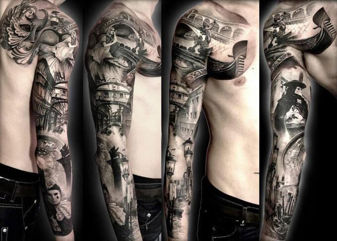 Realism Tattoo Sleeve: Tattoo By Matteo Pasqualin