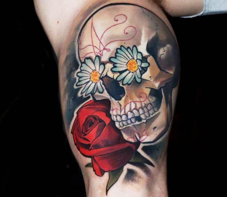 Sugar Skull With Flowers Tattoo By Matyas Halasz Post 19658