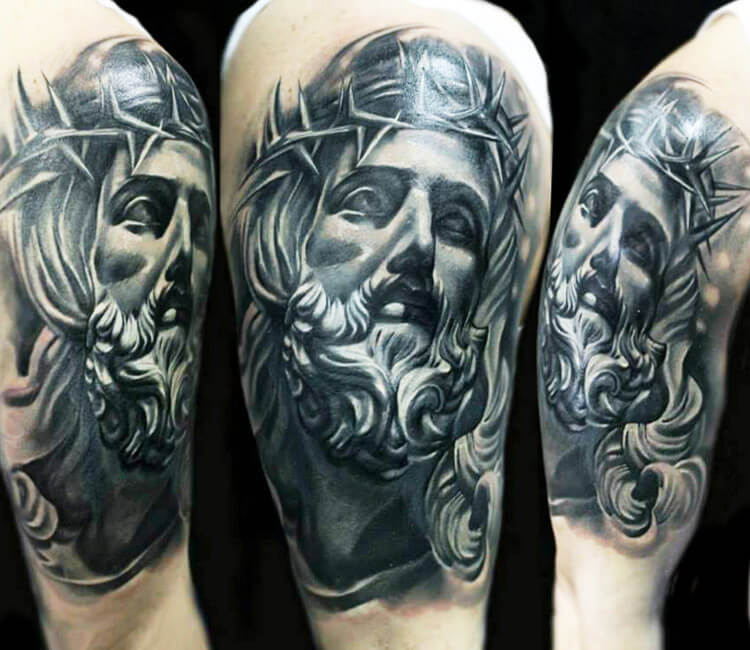 jesus tattoo by maya sapiga post 13473. Black Bedroom Furniture Sets. Home Design Ideas