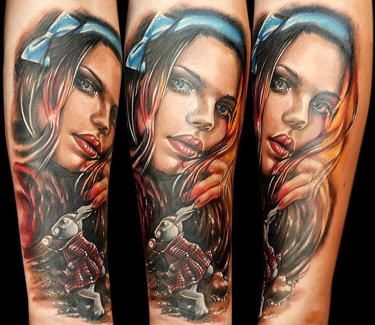 girl face tattoo by maya sapiga post 13490. Black Bedroom Furniture Sets. Home Design Ideas