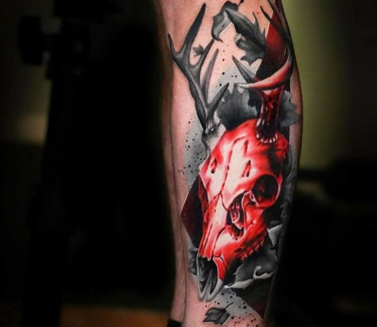 Deer skull tattoo by Michael Cloutier | Post 26980