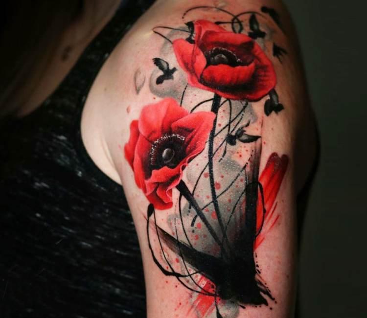 Wild poppy flowers tattoo by michael taguet post 20054 mightylinksfo