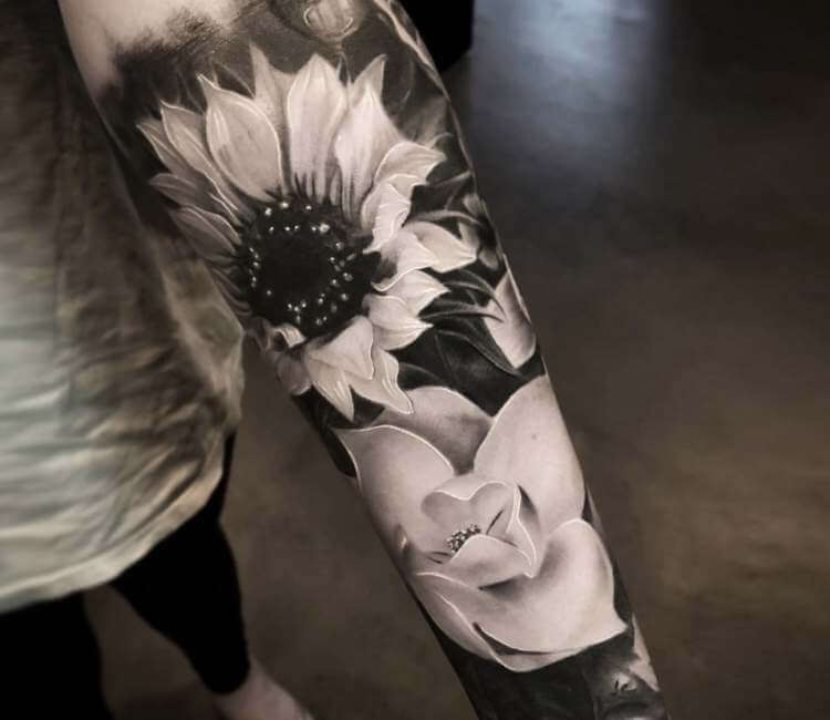 f6bd0ad8c black and gray flowers tattoo by mike flores