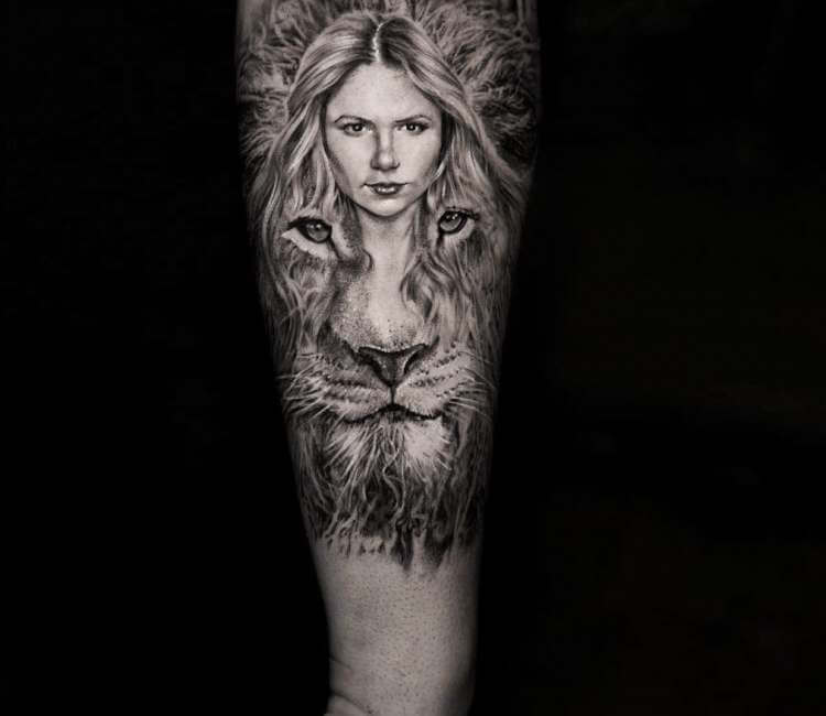 Little Girl And Lion Head Tattoo By Niki Norberg Post 26285