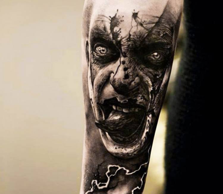 creepy horror face tattoo by oscar akermo post 14837. Black Bedroom Furniture Sets. Home Design Ideas