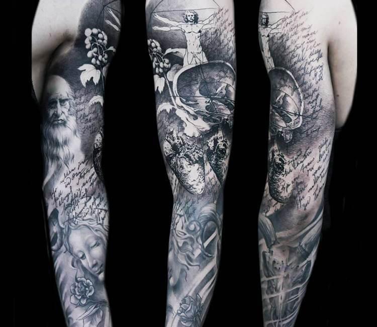 leonardo da vinci tattoo by oscar akermo post 14846. Black Bedroom Furniture Sets. Home Design Ideas